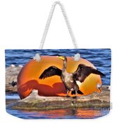 Double Crested Cormorant    Drying Wings         September        Indiana Weekender Tote Bag