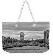 Dublin Ireland - Ha Penny Bridge In Black And White Weekender Tote Bag