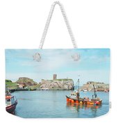 Dunbar Castle Ruins, Harbour And Fishing Boats Weekender Tote Bag