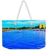 Dunkirk New York Harbor With Neon Effect By Rose Santucisofranko Weekender Tote Bag by Rose Santuci-Sofranko