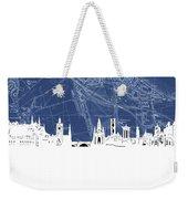 Edinburgh Skyline Map Blue Weekender Tote Bag