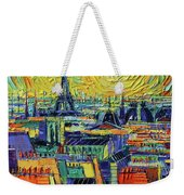 Eiffel Tower And Paris Rooftops In Sunlight Textural Impressionist Stylized Cityscape Mona Edulesco Weekender Tote Bag