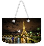 Eiffell Tower At Night After The Storm Passed Weekender Tote Bag