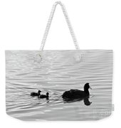 Eurasian Coot And Offspring In Ria Formosa, Portugal. Monochrome Weekender Tote Bag