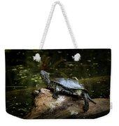European Pond Turtle Sitting On A Trunk In A Pond Weekender Tote Bag