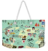 Exlore More World Map Weekender Tote Bag
