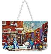 Face Off Street Hockey At The Corner Dep Snow Falling Streets Of Montreal Quebec Artist C Spandau Weekender Tote Bag