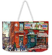 Fairmount Bagel Bakery Laneway Hockey Art Depanneur Winter Scenes C Spandau Montreal Landmark Stores Weekender Tote Bag