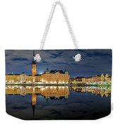 Fantastic Stockholm City Hall And Gamla Stan Reflection With Clouds Weekender Tote Bag