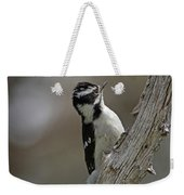 Female Downy Woodpecker Weekender Tote Bag