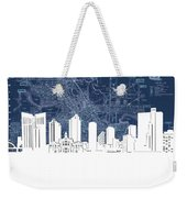 Fort Worth Skyline Map Blue Weekender Tote Bag