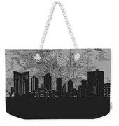 Fort Worth Skyline Map Grey Weekender Tote Bag