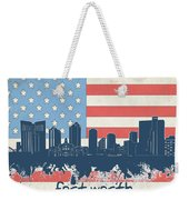 Fort Worth Skyline Usa Flag Weekender Tote Bag