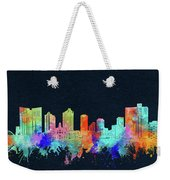 Fort Worth Skyline Watercolor Black Weekender Tote Bag
