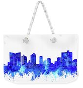 Fort Worth Skyline Watercolor Blue Weekender Tote Bag