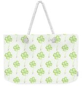Four Leaf Clover Lucky Charm Pattern Weekender Tote Bag