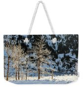 Frost Covered Trees On The Portage Glacier Highway Alaska Weekender Tote Bag
