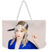 Funny Pin Up Housewife Saluting For Cooking Duties Weekender Tote Bag