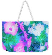 Garden Flowers In Pink, Green And Blue Weekender Tote Bag