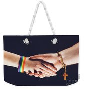 Gay And Christian Person Shaking Hands Weekender Tote Bag