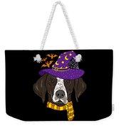 German Shorthair Halloween Witch Hat Flying Bats Weekender Tote Bag