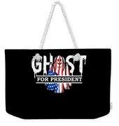 Ghost Elected Cute Halloween Spirit In American Flag Dark Weekender Tote Bag
