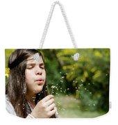 Girl Blowing Dandelion Flower Weekender Tote Bag