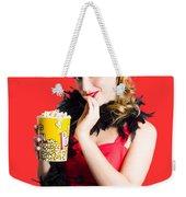 Glamorous Woman Holding Popcorn Weekender Tote Bag