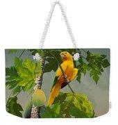 Golden Parakeet In Papaya Tree Weekender Tote Bag