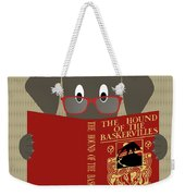 Gray Dog Reading Weekender Tote Bag by Donna Mibus