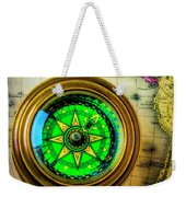 Green Compass And Old Key Weekender Tote Bag