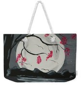 Grey Moon With Red Flowers Weekender Tote Bag