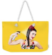 Haircare. Brunette Pinup Woman Using Hair Product Weekender Tote Bag