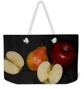 Half An Apple On Black Weekender Tote Bag