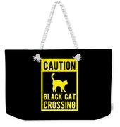 Halloween Shirt Caution Black Cat Crossing Gift Tee Weekender Tote Bag
