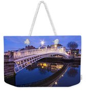 Ha'penny Bridge At Blue Hour Weekender Tote Bag by Barry O Carroll