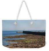 harbour at Seahouses on hazy summer day Weekender Tote Bag
