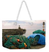 harbour pier and fishings nets at Pittenweem, Fife Weekender Tote Bag