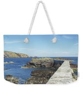 harbour wall and cliffs at St. Abbs, Berwickshire Weekender Tote Bag