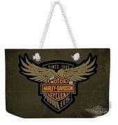 Harley Davidson Old Vintage Logo Fuel Tank Motorcycle Brown Background Weekender Tote Bag