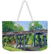 Harrison Park Bridge-ellijay River - Sun Peeking Under Weekender Tote Bag