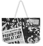 Headline Declaring The End Of Prohibition, 6th December, 1933 Weekender Tote Bag