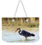Heron Capturing A Fish Weekender Tote Bag