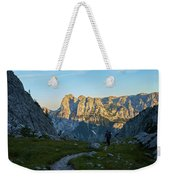 Hiker In The Morning Weekender Tote Bag