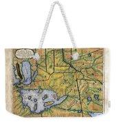 Historical Map Hand Painted Lake Superior Norhern Minnesota Boundary Waters Captain Carver Weekender Tote Bag