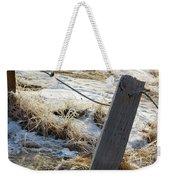 Hoar Frost On A Fence Along Turnagain Arm On The Seward Highway Alaska Weekender Tote Bag