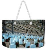 Holiday Wreaths At National Cemetery Weekender Tote Bag by Tom Singleton