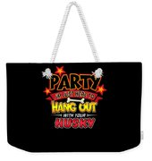 Husky Dog Party Weekender Tote Bag