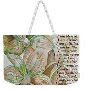 I Am...positive Affirmation In Coral And Green Weekender Tote Bag
