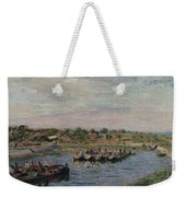 Idle Barges On The Loing Canal At Saint-mammes Weekender Tote Bag